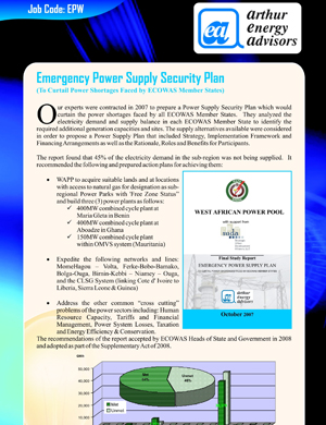 Emergency Power Supply Security Plan